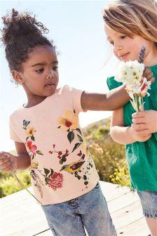粉色花朵图案T恤 (3个月-6岁)