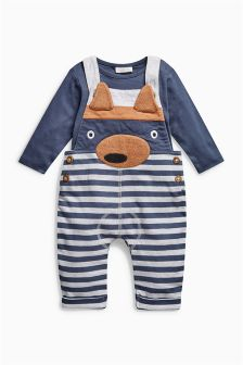 Navy/Grey Stripe Fox Dungarees (0mths-2yrs)