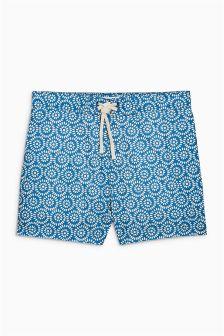 Light Blue Geo Print Swim Shorts