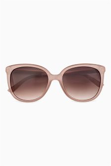 Nude Etched Metal Arm Detail Cat Eye Sunglasses