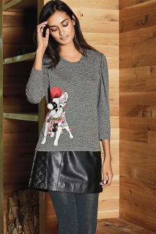 Black Leather A-Line Skirt