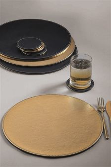 Set of 8 Metallic Brass And Matte Black Reversible Mats And Coasters