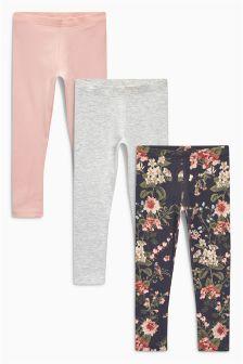 Printed/Grey/Pink Leggings Three Pack (3-16yrs)