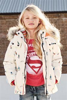 White Ski Print Tech Jacket (3-16yrs)