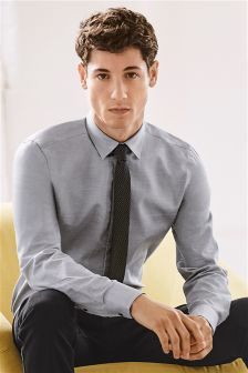 Grey Marl Shirt And Tie Set