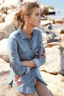 Mid Blue Embroidered Floral Shirt