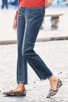 Mid Blue Step Hem Panel Relaxed Jeans