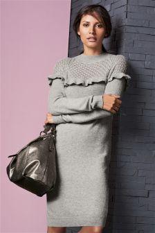 Grey Pointelle Ruffle Dress