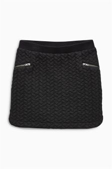 Black Quilted Skirt (3-16yrs)