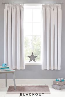 Cotton Blackout Pencil Pleat Curtains