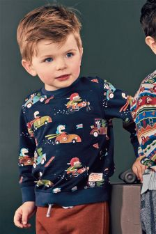 Navy Printed Car Crew (3mths-6yrs)
