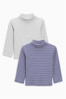 Charcoal/Stripe Roll Neck Tops Two Pack (3mths-6yrs)