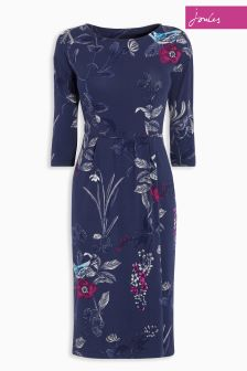 Joules French Navy Laverne Birdberry Drop Shoulder Wrap Dress