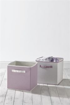 Set Of 2 Lilac Storage Cubes