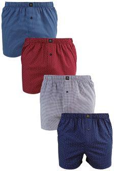 Multi Colour Mini Print Woven Boxers Four Pack