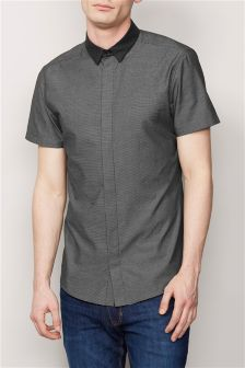 Black Short Sleeve Fly Front Smart Shirt