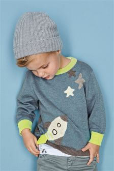 Blue Crochet Rocket Crew Neck Jumper (3mths-6yrs)