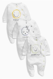 White Emotion Sleepsuits Three Pack (0mths-2yrs)
