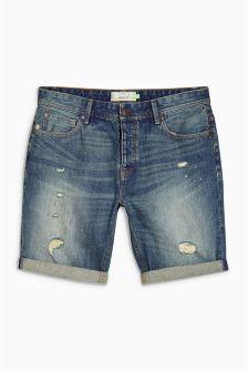 Denim Green Regular Fit Rip Shorts