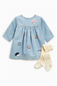 Denim Embroidered Dress And Tights Set (0mths-2yrs)