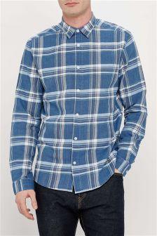 Indigo Long Sleeve Check Shirt