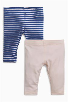 Pink/Navy Stripe Leggings Two Pack (0mths-2yrs)