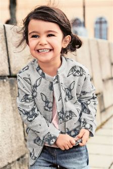Grey Rabbit Print Bomber (3mths-6yrs)