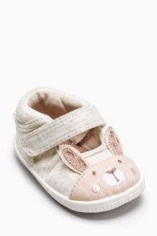 Oatmeal Bunny Pram Shoes (Younger Girls)