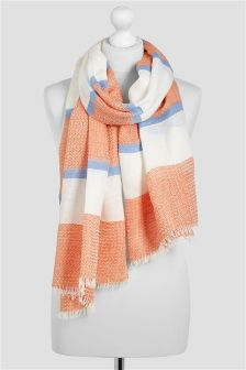 Orange/White Jacquard Stripe Scarf