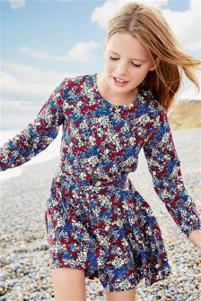 Print Ditsy Print Long Sleeve Playsuit (3-16yrs)