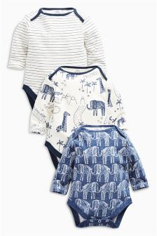 Navy/White Elephant All Over Print Long Sleeve Bodysuits Three Pack (0mths-2yrs)