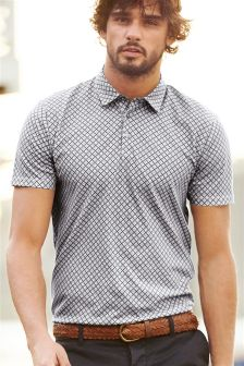 Navy Tile Print Polo