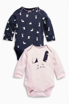 Pink/Navy Long Sleeve Bunny Bodysuits Two Pack (0mths-2yrs)