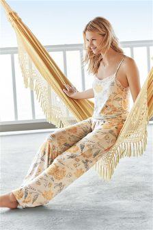 Ochre/Cream Printed Cami Pyjamas