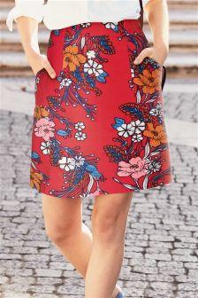 Floral Linen Blend Skirt