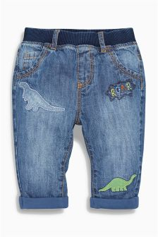 Denim Dinosaur Embellished Jeans (0mths-2yrs)