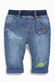 Denim Dinosaur Embellished Jeans (0mths-2yrs)