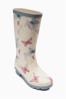 Blue/Ecru Butterfly Wellington Boots (Older Girls)