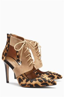 Animal Print Lace Up Shoe Boots