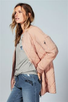 Blush Longline Quilted Bomber