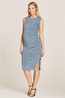 Blue Maternity Ruched Velvet Dress