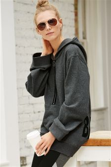 Grey Slogan Hooded Sweat Top