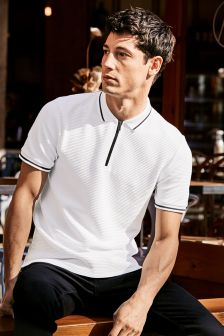White Zip Neck Poloshirt