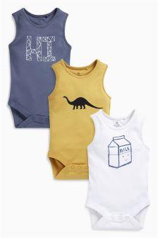 Blue/Yellow Slogan Vests Three Pack (0mths-2yrs)