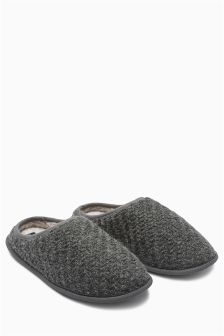 Grey Textured Knitted Mule