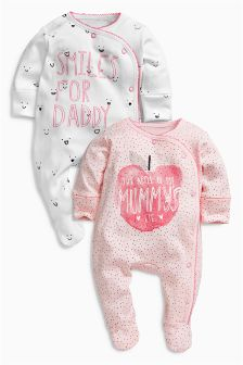Pink Apple Mummy And Daddy Sleepsuits Two Pack (0mths-2yrs)