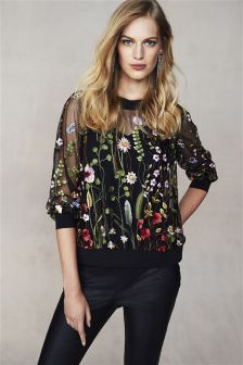 Black Embroidered Sweat
