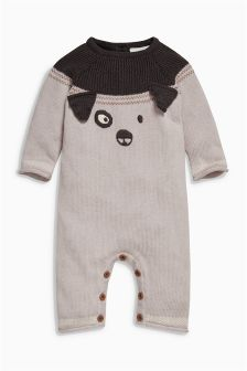 Grey Knitted Dog Romper (0mths-2yrs)