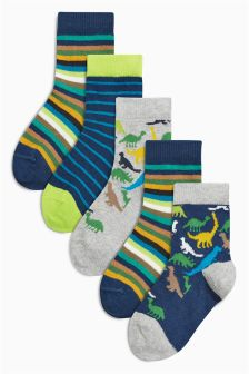 Multi Dinosaur Bright Socks Five Pack (Younger Boys)