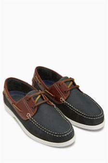 Navy/Tan  Boat Shoe